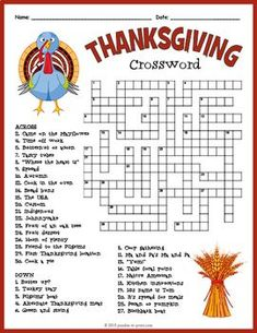 No Prep Autumn Activity - Thanksgiving Crossword Puzzle Worksheet