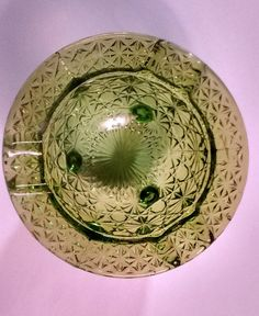 Green Glass Ashtray Vintage Fenton Button and Daisy Pattern Tri-Foot Kettle Ashtray