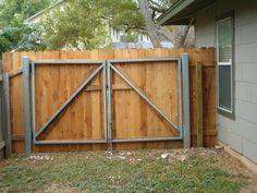 steel framed wooden privacy gate