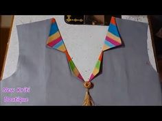 Hi Friends, Hi Friends, How to make latest and stylish V neck design Cutting and Stitching with new Kriti Boutique. How to make V neck design latest V neck d. Kurti Back Neck Designs, Chudidhar Neck Designs, Saree Blouse Neck Designs, Dress Neck Designs, Kurta Designs, Sleeve Designs, Blouse Designs, Collar Kurti Design, Kurta Neck Design