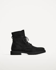 ZARA - MAN - BLACK LEATHER BOOTS WITH LACES