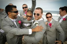 These guys are having a great time | O'Boyle Photography #groomsmen #beach #fun