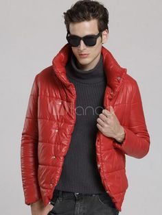 Solid Color Polyester Amazing Men's Quilted Jacket - Milanoo.com #jacket