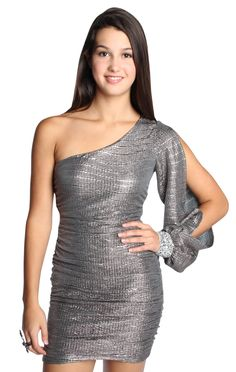 all over metallic knit one shoulder junior homecoming dress