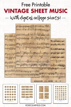 10 FREE printable vintage sheet music pages, plus 12 digital collage sheets! Great for unique wall art and endless DIY and craft projects. Music Collage, Collage Sheet, Digital Collage, Vintage Sheet Music, Vintage Sheets, Handmade Greeting Card Designs, Print Sheet Music, Sheet Music Crafts, Hymn Art