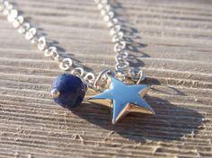 Kette STAR DUST Stern Silber Edelstein blau  von sumaju auf DaWanda.com