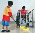 This game of hockey has been modified for the child in the wheelchair. She has a stick attached to her wheelchair to allow her to play the game and be involved. Elementary Physical Education, Physical Education Activities, Pe Activities, Special Education, Education Posters, Elementary Pe, Science Education, Health Education, Education Quotes
