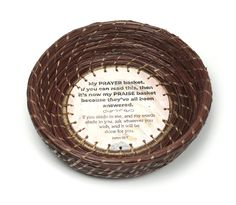 The Answered Prayers Basket is made from hand-woven pine straw by Patti Jones. It features a hand-made base with writing by Stephen Rountree and Scripture from John 15:7. Full of prayer notes representing trust in God, or empty as a testimony to His grace and love, this basket is a reminder of the relationship we can have with God when we truly abide in Christ and let His words abide in us. Abide In Christ, New Year Pictures, Pine Needle Baskets, Answered Prayers, Small Sculptures, Breast Cancer Survivor, Pine Needles, In Ancient Times, Empty