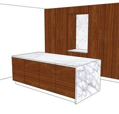 Keuken ontwerp maken. Bianca carrara op American walnut. #walnut #interiordesign #interior #interieur #kitchen #kitchendesign #bespokekitchen #meubelmaken #justusfelthuis #marmer #interieurbouw #biancocarrera #Bora #blum