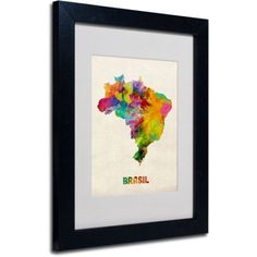 Trademark Fine Art Brasil Watercolor Map by Michael Tompsett, Black Frame, Size: 16 x 20, Multicolor