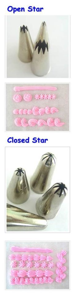 STAR This tip is often used for top and bottom borders. Also used to pipe stars, rosettes, shells, reversed shells and even leaves. Small star tips can also be great for lettering. Shown below are two kinds of star tips - open star and closed star. - See more at: http://www.make-fabulous-cakes.com/cake-decorating-tips-guide.html#sthash.bxRHwasB.dpuf