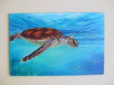 sea turtle acrylic Paintings | Original 24x36 Sea Turtle Painting on Canvas by J by LandandSky