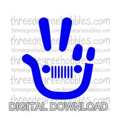 Jeep Wave Hand Digital Download SVG DXF EPS Silhouette Studio