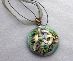 polymer clay irish | Polymer clay pendant with appliqued Celtic knot and shamrocks, 3 small ...