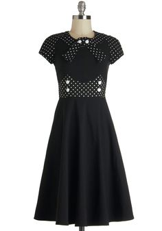 East Coast Swing Dress - Black, White, Polka Dots, Buttons, A-line, Short Sleeves, Long, Vintage Inspired, Party, 50s, Crew, Fit & Flare