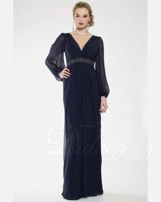Chiffon Beaded Long Sleeve V-neck Evening Dress
