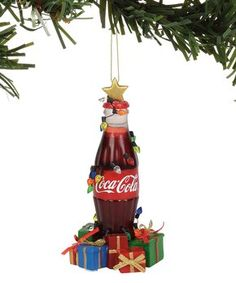 Department 56 Coca-Cola Bottle with Gifts Musical Hanging Ornament, 6 Inch, Multicolor Coca Cola Gifts, Coca Cola Brands, Christmas Fun, Christmas Ornaments, Disney Traditions, Holiday Themes, Holiday Decorations, Coke, Pepsi