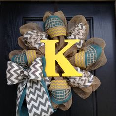 Monogram Turquoise & Yellow Chevron Wreath by Tarandipity on Etsy