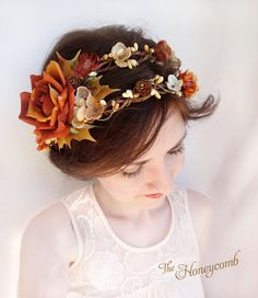 fall wedding headpiece rustic flower crown autumn by thehoneycomb, $110.00