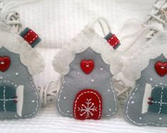 Set of Three White-Red-Grey Winter Snowflake House Felt Ornament / Christmas Hanging Decoration