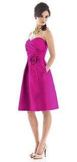Alfred Sung Style D498 Bridesmaid Dress in Cerise
