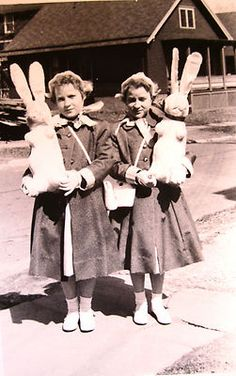 for heavens sake somebody give those girls some candy! N.Y. Easter Time, 1940's