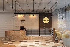 5 QUY TẮC THIẾT KẾ QUẦY BAR CAFE AI CŨNG NẮM GỌN LÒNG BÀN TAY Cake Shop Design, Bakery Design, Cafe Design, Cake Shop Interior, Restaurant Interior Design, Bar Counter Design, Coffee Bar Design, Cafe Counter, Deco Restaurant