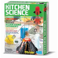 Perform amazing experiments with everryday materials.  A fun kit filled with inspiration!  Contains 6 specially designed kitchen science experiments. Generate electricity by using a fork and lemon and light up a bulb.  Launch a rocket fuelled by baking soda and vinegar.  Build a table-top volcano which erupts with bubbly lava....and MORE!