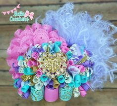 Ott hair bow, Over the top hairbow, birthday hair bow, bling hair bow, pageant hair bow, aqua pink golf ivory hair bow, big fancy hairbow by bellacreations123 on Etsy https://www.etsy.com/listing/261261869/ott-hair-bow-over-the-top-hairbow