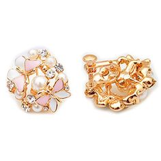 Latigerf Fashion Jewelry Gold Plated Womens Butterfly Rhinestone Screw Back NonPierced Clip on Earring Clips for non Pierced Ears for Girl Pink -- More info could be found at the image url-affiliate link. #Earings