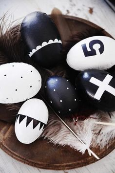 Black and white painted easter eggs.