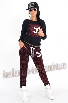 Trening Dama Casual Negru Cu Rosu Model Deosebit Online Shopping For Women, Sporty, Punk, Casual, Clothes For Women, Style, Fashion, Outerwear Women, Swag