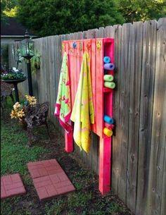 Pallet towel rack. Pool noodle holder.