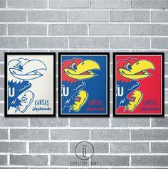Kansas Jayhawks Graphic Print  University of Kansas Poster by Dimestore Saint