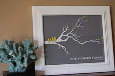 Personalized Love Bird Family Tree Branch - Mothers Day or Anniversary Gift - 8x10 Art Print via Etsy