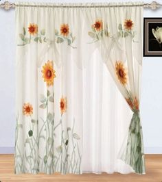 "2 Panel of White, Green, and Yellow 3D Sunflower Window Curtain/drapes with Attach Valance and Sheer by Chezmoi Collection. $24.99. Each set include 2 panel. Easy Care- Machine Washable. Valance and Sheer backing is attach to the curtain.. Each panel size: 60"" x 84"" + 28"" Valance drop.. Fabric Content 100 % Polyester. Window treatments add refinement and style to otherwise dull, boring windows. Shutters and awnings decorate the outside of your house, while blinds, shades, ..."