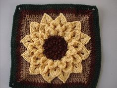 Crocodile  Stitch Flower Square looks like a sunflower with these colors