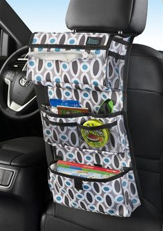 Backseat Entertainment- Contain the kid clutter while providing entertainment during trips. This eight-pocket organizer has space for a tissue box; three pockets for DVDs, books, DVD player and toys; and four smaller mesh pockets for gum, game cartridges and crayons. An adjustable strap holds the organizer in place, but tucks away for a neat appearance.