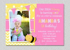 Pink Bumble Bee Birthday Invitation , Bumble Bee Birthday Invitation Printable via Etsy Girls 3rd Birthday, Yellow Birthday, First Birthday Parties, First Birthdays, Birthday Ideas, Bee Invitations, 1st Birthday Party Invitations, Baby Showers, Parties
