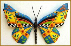 Hand Painted Metal Wall Art, A delightful collection of hand painted metal wall hangings - Whimsical - Funky Art - Tropical Home Decor - Garden Art Decorative metal outdoor garden decor - Patio Art - Handcrafted from recycled steel drums in Haiti Metal Butterfly Wall Art, Butterfly Wall Decor, Butterfly Decorations, Butterfly Art, Butterflies, Butterfly Design, Art Tropical, Design Tropical, Tropical Wall Decor