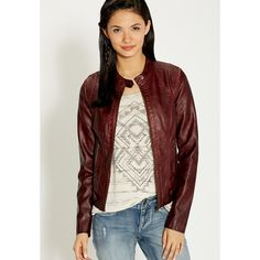 maurices Moto Jacket With Button Tabs And Knit Ribbing ($52) ❤ liked on Polyvore featuring outerwear, jackets, oxblood, red zipper jacket, distressed jacket, motorcycle jacket, moto jacket and pocket jacket