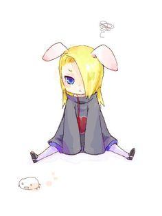 Chibi Deidara with Bunny Ears Kawaii Naruto Kakashi, Naruto Shippuden, Anime Naruto, Boruto, Deidara Akatsuki, Deidara Wallpaper, Clap Clap, Otaku, Naruto Pictures