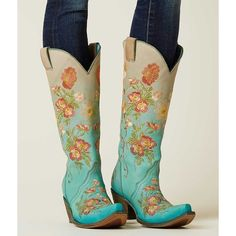 Corral Embroidered Cowboy Boot - Turquoise US 5 ($239) ❤ liked on Polyvore featuring shoes, boots, turquoise, embroidered boots, embroidered cowboy boots, tall boots, tall cowgirl boots and embroidered shoes