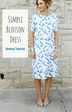 DIY dress pattern for women - A simple blouson dress sewing tutorial Sewing Patterns Free, Free Sewing, Clothing Patterns, Blouse Patterns, Patterns For Dresses, Sewing Men, Dress Making Patterns, Pattern Sewing, Pattern Drafting