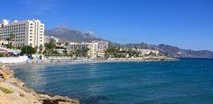 Playa Torrecilla, Nerja, Spain Nerja Spain, San Francisco Skyline, Beaches, Travel, Viajes, Traveling, Trips, Tourism