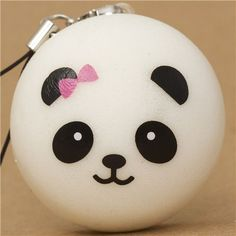 panda bear bun with pink bow squishy cellphone charm