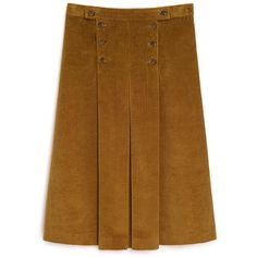 Mulberry Jade Skirt ($500) ❤ liked on Polyvore featuring skirts, caramel, pleated skirt, knee length pleated skirt, brown skirt and brown pleated skirt