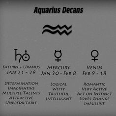 Image result for aquarius decans