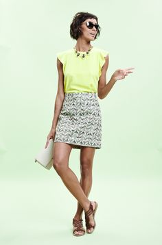 give a classic little tweed skirt a new spin with neon. (june 2014)
