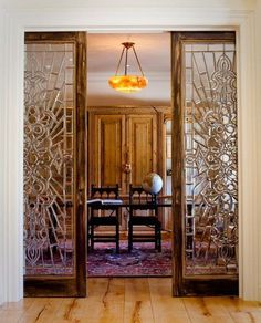 Sliding French Pocket Doors sliding pocket doors- stained glass- exactly what i want between